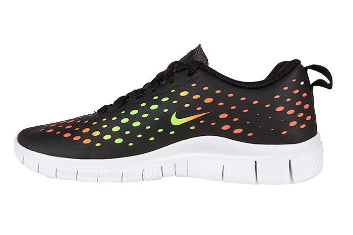 nike free express gs black and white with orange