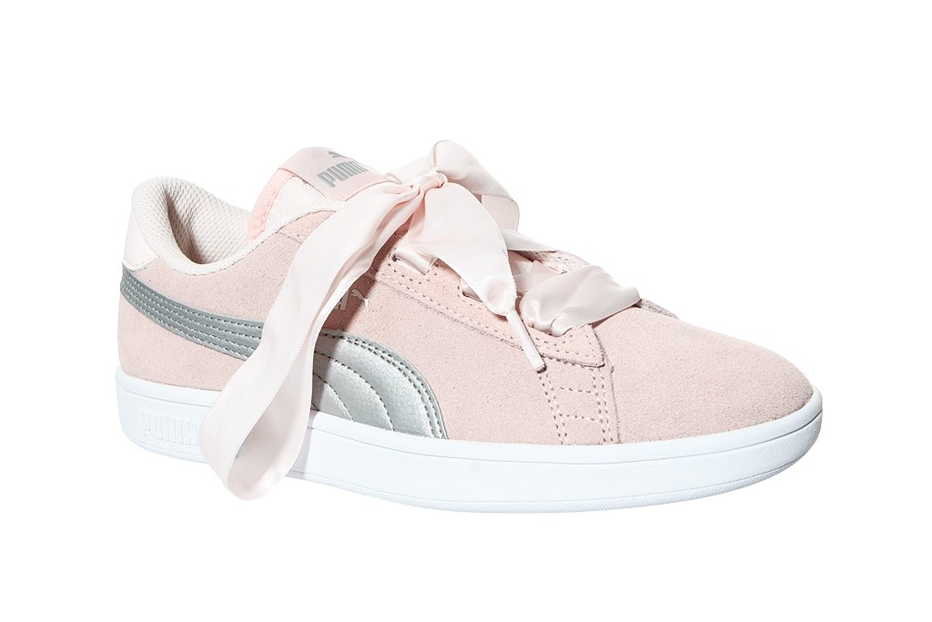 White Puma Shoes With Pink Ribbon Laces